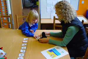 working with flashcards and the toys