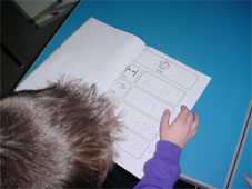 Pupil with worksheet
